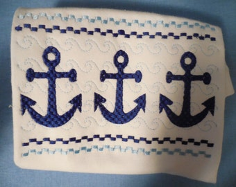 Anchor Smocked Embroidery Tee