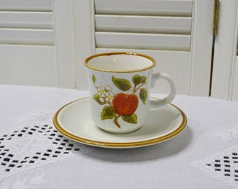 Vintage Mikasa Crab Apple Natural Beauty Cup and Saucer Retro Stoneware Red Fruit Flower Blossoms Replacement PanchosPorch