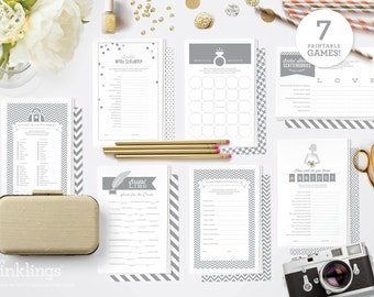 Printable Bridal Shower Games // 7 Games including Wishes for the Couple, Purse Game, Scattergories, Bridal Libs, World Scramble // Grey