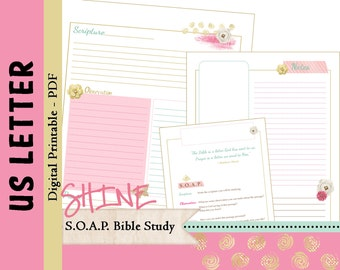 """US LETTER S.O.A.P. Bible Study Printable Planner Journal Refills / Inserts - PDF - 8.5 x 11  """"Shine in 2016"""""""