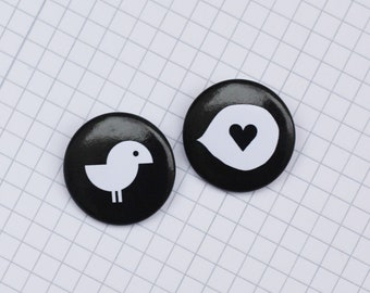 "Badges Pack ""Birdy + Heart"" (2)"