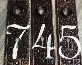Vintage House Numbers, Antique Door Plates, Wedding Table Numbers,  Architectural Salvage, Old House Numbers, Vintage Metal, Victorian