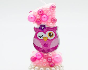 1st birthday candle / owl candle / owl birthday candle / number candle / owl cake topper / party candles 1 / owl birthday candle / owl theme