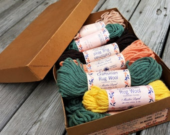 Bernat Craftsman Latch Hooking Rug Wool 17 Skeins Old World Colors Each One Ounce All Virgin Wool Rug Latch Hooking Supplies