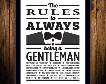 The Rules to Always Being a Gentleman - Framed Print
