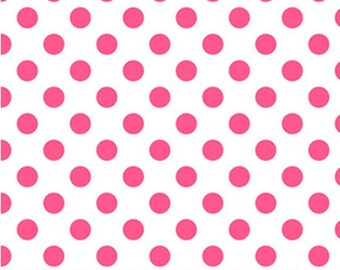One Yard NEONS - Medium Neon Dots in Neon Pink on White - Cotton Quilt Fabric - C490-101 - Riley Blake Designs (W2472)