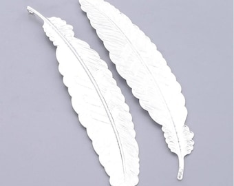 Bookmarks Feather Bookmarks Metal Bookmarks Silver Feather Pendant Large Metal Feather Bookmark 114mm