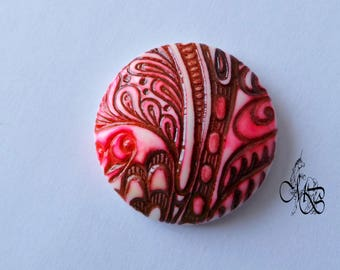 """Colorful texture"" #3 40mm polymer clay cabochon"