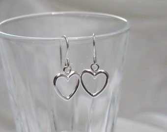 Sterling silver heart earrings, Heart earrings, Cute silver heart earrings, Valentines gift, Gift for her