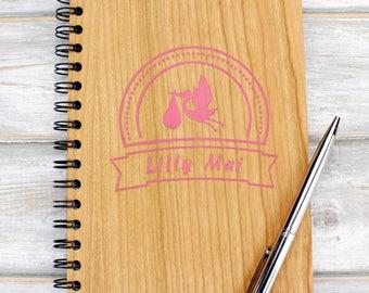 Personalised Wooden A5 Baby Memories Note Book Diary, Keepsake Milestone Journal - Stork Design