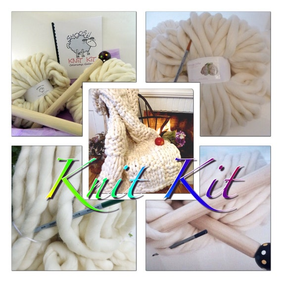 "Knit-Kit, DIY Chunky Blanket, 24"" Giant Needles, 5# SMOOSH Yarn, Tutorial, Patterns, Giant Needles"