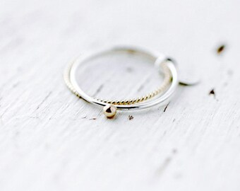 Toi et moi 14kt Rose or Yellow gold bead silver ring