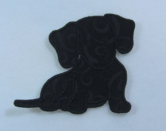 Dachshund Wiener Dog Fabric Embroidered Iron On Applique Patch Ready to Ship