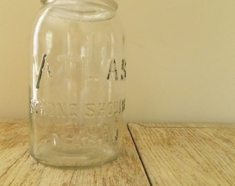 Vintage 1910 Hazel Atlas Strong Shoulder Mason Jar | Antique Clear Glass Collectible Canning Jar