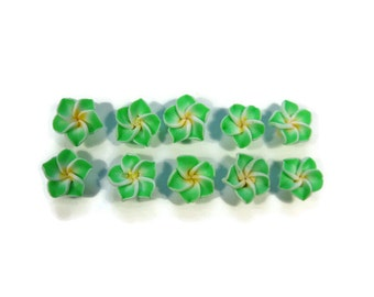 12 mm Polymer Clay Plumeria Flowers Set of 10 (MP12)