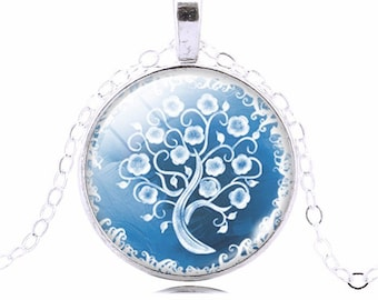 Life Tree glass cabochon Pendant Necklace