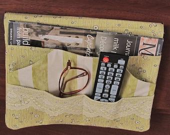Green Bed Pocket for Bedside or Dorm Storage, Bed Caddy, Remote Holder, Nightstand Organizer, Bedroom Organization, BP56