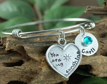 You Are My Sunshine Jewelry, Personalized Bangle Bracelet, Silver Bangle Charm Bracelet, Sunshine Bracelet, Name Bracelet, Heart Bracelet