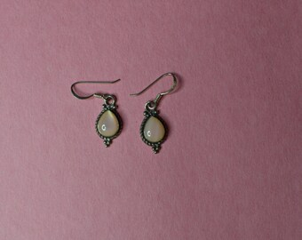 ON SALE  Pierced Earrings With Dangle & Pink Stones