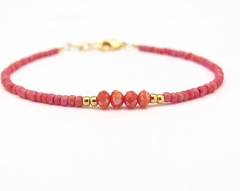 Rose Coral Friendship Bracelet, Seed Bead Bracelet, Crystal Bead Bracelet, Petite Bracelet, Beaded Bracelet, Hawaiian Jewelry, MissCece