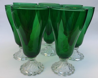 Vintage Anchor Hocking Burple Green Ice Teas Set Of 8! BEAUTIFUL!