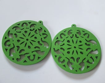 prints 2 openwork wood, 53 mm Green round wood beads