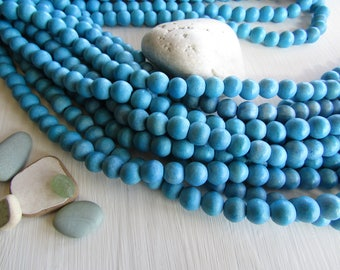 turquoise round wood beads , dyed blue  tone , Philippines,  exotic supplies  , 10mm  to 11mm ( 40 beads  ) 6PH30