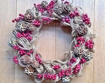 Dried Pink Peppers And Rope Wreath - Fall Deacoration - Year Round Decoration