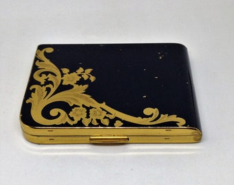 Vintage Black and Gold Elgin American Compact with Curved Corner, Gold Swirl Motif on Black with Gold Edges, Mirrored Elgin Powder Compact