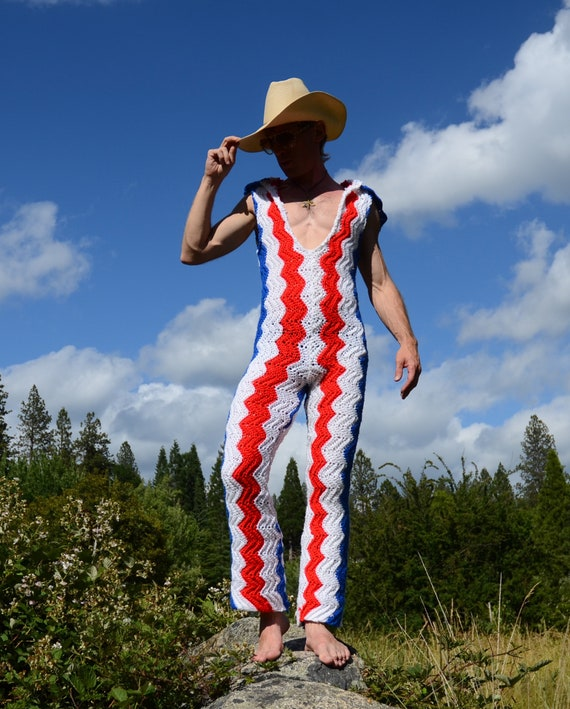 Crochet White Chevrons Blue and Red Onesie FrxnrC