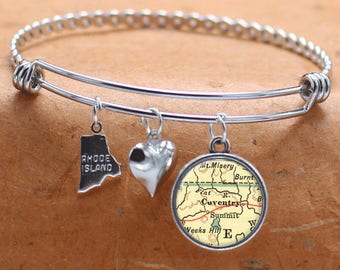 Coventry Rhode Island Map Charm Bracelet State of RI Bangle Cuff Bracelet Vintage Map Jewelry Stainless Steel Bracelet Gifts For Her