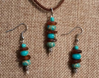 Sea glass jewelry set
