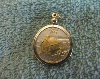 Coin Bezel Pendant Iowa Statehood Quarter Jewelry - Gold and Silver Necklace Pendant