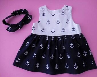 Baby infant nautical anchors sundress pinafore and matching headband