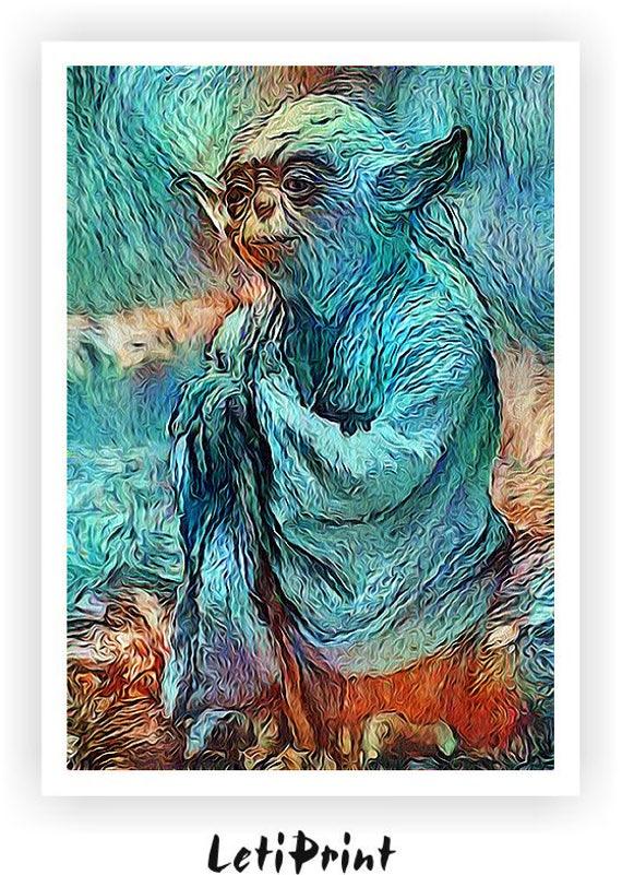 Yoda Van Gogh Painting Yoda Print Yoda Poster Star Wars
