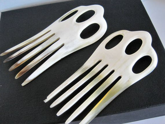 White Hair Combs, Signed Paris Diffusion, Set of 2, Tortoiseshell Lucite,  Elegant,  Wedding Combs