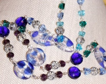 Blue and Blue Lampwork and Crystal Necklace Sets