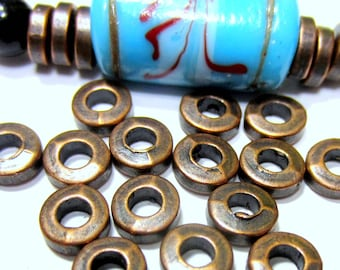 50 Copper spacer Beads 7mm Bali  style flat round disc copper jewelry making supply  nickel free lead free Hp 1991-(W6)