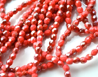 Coral Red Clarit 3mm Faceted Fire Polish Round Beads   50