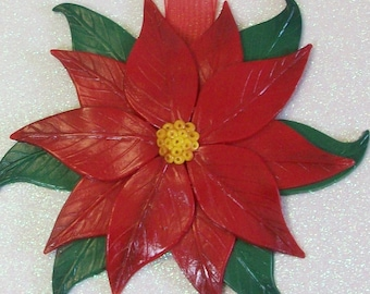 Red poinsettia Christmas holiday ornament: polymer clay ornament