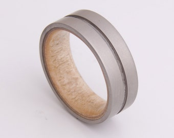 Titanium and Maple Birdeye // Mens Wood Rings //wood Wedding Band //Men's wedding Band Engagement Ring