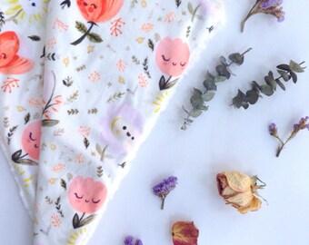 Whimsical Floral Baby Blanket, Floral Lovey, Minky Baby Blanket, Baby Girl, Modern Baby Blanket
