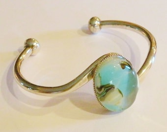 Lovely Glass Bracelet in Turquoise and Grey Fused Glass