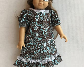 """Nightgown with eye mask for 18"""" doll"""
