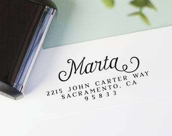 Custom return address stamp - personalized self inking stamp or wood block return address stamp