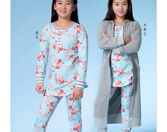 McCall's Sewing Pattern M7499 Girls'/Girls' Plus Robe with Hood, Henley Top and Banded Pants