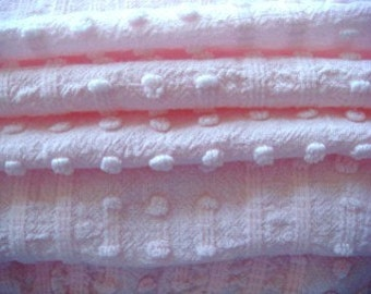Morgan Jones Pastel Pink Dot and Dash Vintage Chenille Fabric