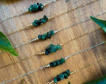Emerald necklace - Precious gemstone bar necklace - Tiny emerald bead bar necklace - Genuine emerald necklace - May birthstone necklace