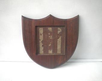 "Black Walnut Wood Frame for 6"" Square Tile - Coat of Arms Shield Crest Award Plaque"