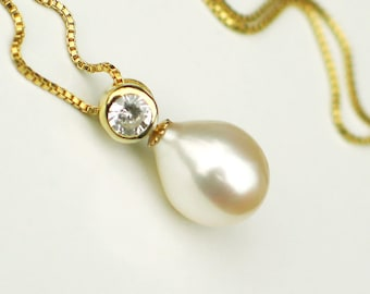 Ivory Teardrop Pearl Pendant   Solitaire Freshwater Pearl   CZ   14k Gold Fill Box Chain Necklace   Birthday   Mother's Day   Ready to Ship